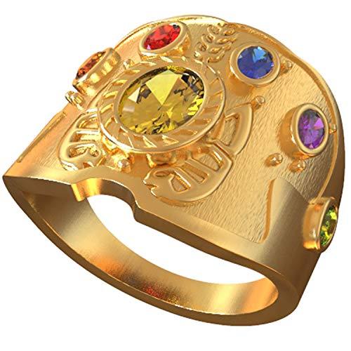 Wellgift Herren Infinity Ring mit Kristall Edelstein 20 mm Durchmesser Gold Neuheit Power Ringe Halloween Cosplay Kostüm Schmuck Kollektion Zubehör für Unisex Erwachsene