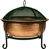 Global Outdoors 26' Genuine Copper Deep Bowl Fire Pit with Screen, Cover and Safety Poker