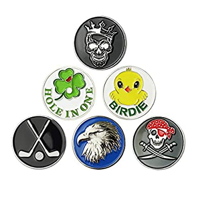 GOLTERS Golf Ball Markers fit All Magnetic Golf Hat Best Golf Gifts Clips Pack of 6 (Mixed 05)