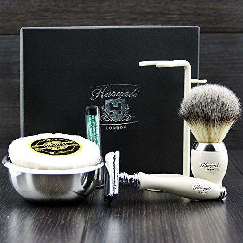 Premium Rasierzeug Geschenk für Männer (Rasierhobel, Pinsel, Schüssel, Stand) Marken-Box (keine...