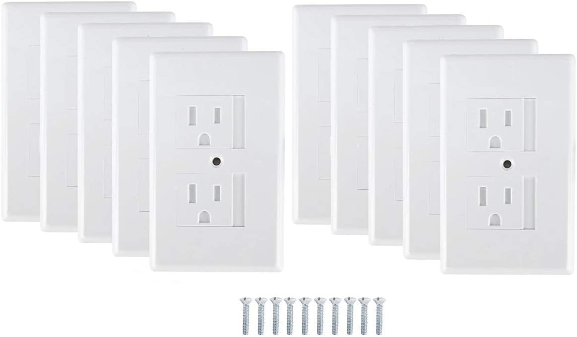 Mommy's Helper Safe Plate Electrical Outlet Covers Standard, White, 10 Pack