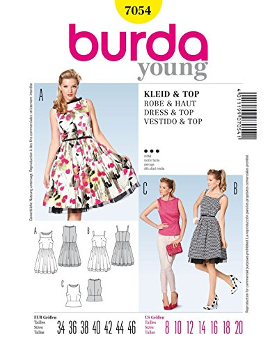 Burda Schnittmuster Retro-Kleid/Top/Rock