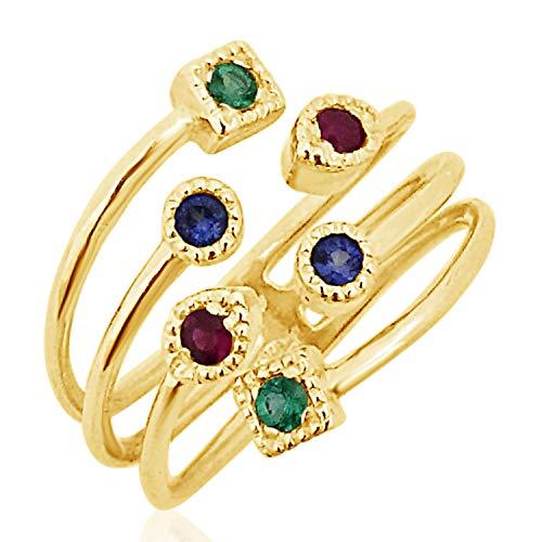 MILLE AMORI ∞ - Anello di fidanzamento da donna in oro giallo 9 carati 375 + zaffiro + smeraldo 0,26 carati ∞ Gems e Oro bianco, cod. 2353 G