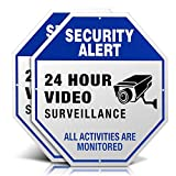 Video Surveillance Signs, Aluminum 12' x 12' Outdoor Security Camera Signs for Property, Metal Reflective Warning Sign for Home Business CCTV Security Camera - 2 Pack