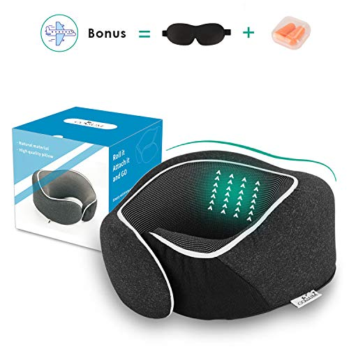 Coisum Travel Pillow Neck Pillow for Airplane Travel, 100% Pure Memory Foam Airplane Pillow,Contoured Design for Neck Support with Earplugs and 3D Sleep Mask.