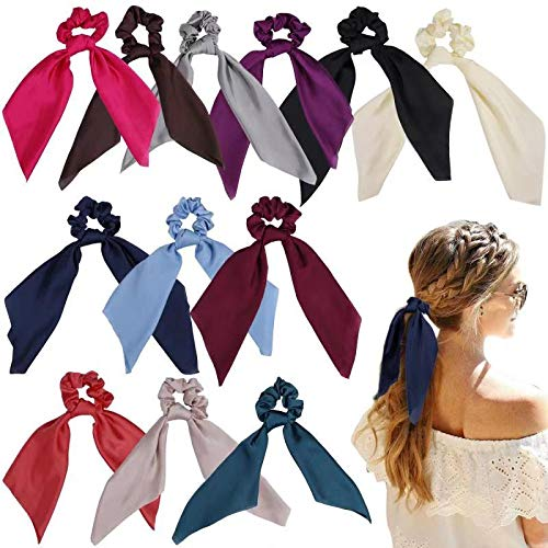 ZZICEN Satin Hair Scrunchie with Tail - Hair Scarf with Bow, Hair Scarf Scrunchies Elastic Ties Bands Hair Bobbles Ponytail Holder for Women or Girls Hair Accessories -12 Pcs Solid Colors