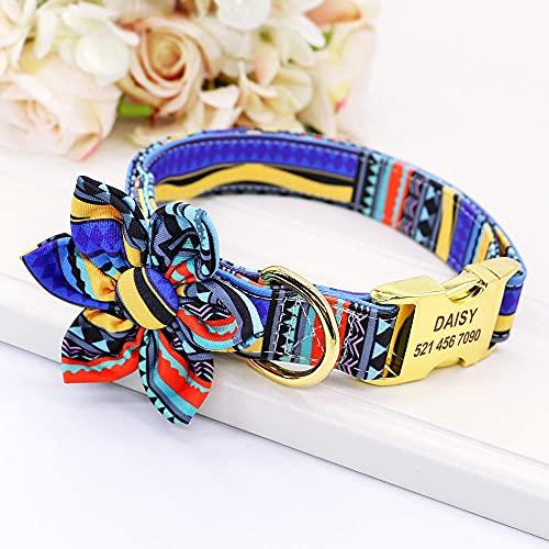 Collar de Perro Personalizado, Collares de Nailon para identificación de Mascotas con Hebilla de Etiqueta Personalizada, Accesorios de Flores para Perros pequeños, medianos y Grandes Bulldog-Bl