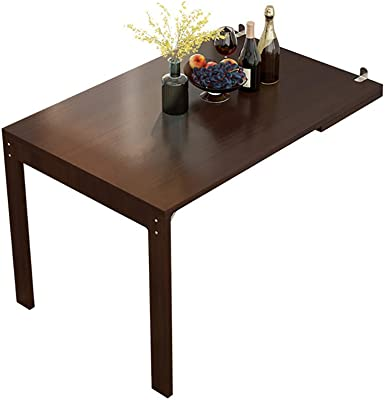 Wall Mounted Table Multifunctional Collapsible Table Wall-Mounted Telescopic Folding Dining Table bar Table, Folding on The Wall Hanging Table (Color : Walnut)