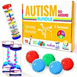 Autism Toys Kids All-Around Sensory Stim Alternative Autistic Children Bundle, ASD Child Boy Girls Teens - Calm Rainmaker, Liquid Motion Bubbler, Spiky Balls, Stimulation Product Tool Item Stress
