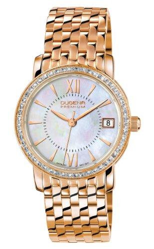 Dugena Damen Quarz-Armbanduhr, Saphirglas, Mit Zirkonia besetztes Lünette, Edelstahl-Armband, Gold/Perlmutt, 7500157-1