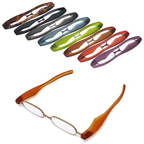 【ポッドリーダー スマート】超軽量 コンパクトな折りたたみ式 老眼鏡 8色 +1.0~+3.0 胸ポケットに入るサイズ Podreader (+2.0, ブラウン)