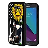 Galaxy J7 (2017)/J7 V/J7 Perx/J7 Sky Pro/J7 Prime Case, Slim Anti-Scratch Shockproof Rubber Protective Cover for Samsung Galaxy J7 (2017),American Flag Sunflower and Cow