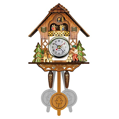 Hiqusc Kuckucksuhr aus Holz mit Glocke und Glocke