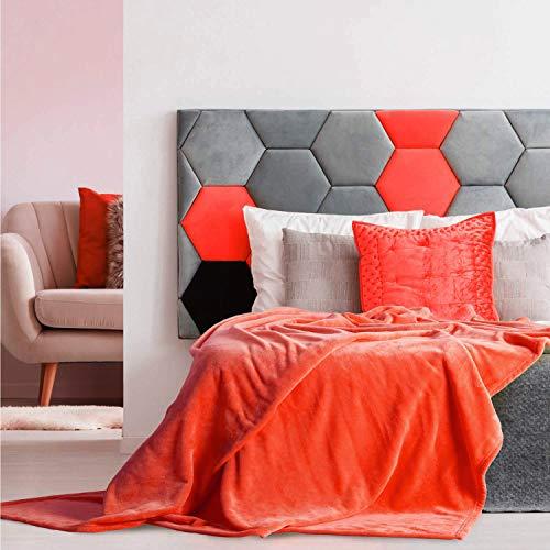 Foren Tex Manta para sofá y Cama de Franela (3076 Naranja, 220x240cm) 300GMS Sin Pelusas No Suelta Pelo Tacto Suave y Cálida Varios Tamaños y Colores