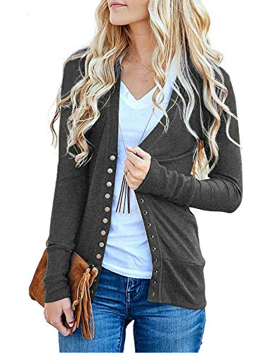 Traleubie Women's Long Sleeve V-Neck Button Down Knit Open Front Cardigan Sweater Charcoal S