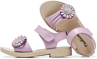 Candykids マジックテープ 履きやすい 花 モチーフ 女の子 キッズ クッション サンダル 滑り止め 付き 子供 靴