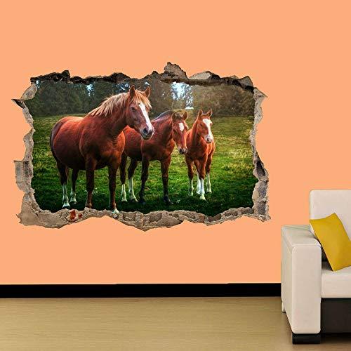 Hermosos caballos en el campo Etiqueta de la pared Decoración de la habitación Calcomanía Mural Clase A 50x75cm