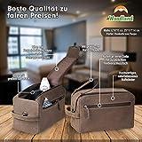 Woodland® Große Kulturtasche aus weichem, naturbelassenem Büffelleder in Dunkelbraun/Taupe - 3