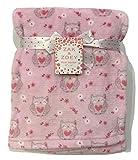 Zak & Zoey Baby Plush Blanket - Owls Pink - 30' x 40' Girls Crib Baby Infant Toddler