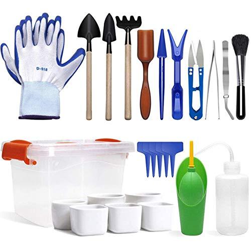 Juego de 41 mini herramientas de jardín, trasplante de suculentas, herramienta de mano para plantar, juego de jardineras en miniatura para riego en interiores y exteriores