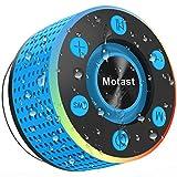 Motast Enceinte Bluetooth 5.0 Portable Haut Parleur IPX7 Waterproof Douche avec Ventouse, Mini Enceinte-Bluetooth TWS Stéréo et Basses Puissante, FM, Multicolor LED, Microphone Intégré, Bleu