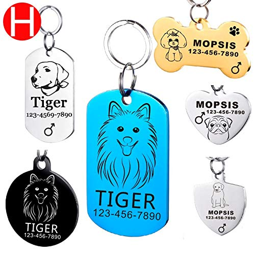 AEAP Dog ID Tag for Puppy Kitten Free Engraving The Medium-Sized Dogs Pet Cat Name Stainless Steel Tags On The Pets Dog Cats Collar