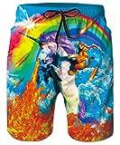 ALISISTER 3D Herren Badehose Neuheit Badeshorts Design Badeshorts Sommer Schnell Trocknend Strand Surfer Sport Board Swim Shorts M