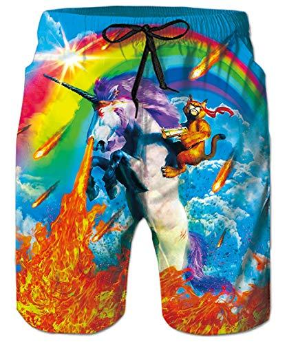 ALISISTER Badehose 3D Funny Regenbogen Einhorn Katze Druck Sommer Schnelltrocknend Schwimmhose Board Shorts mit Netzfutter für Herren Männer XL