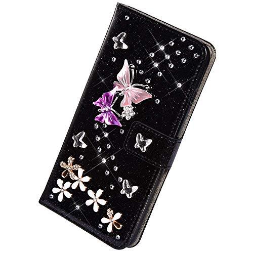 Herbests Kompatibel mit Samsung Galaxy A51 Hülle Leder Handyhülle Diamant Bling Strass Glitzer Schmetterling Blumen Muster Leder Tasche Flip Cover Case Klapphülle Schutzhülle,Schwarz