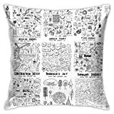 MAY-XCustom Funda De Almohada,Movie Hospital Summer Food Science Construction Graffiti Throw Pillow Covers, Charming Travel Pillow Covers For Home Office Rest,45x45cm