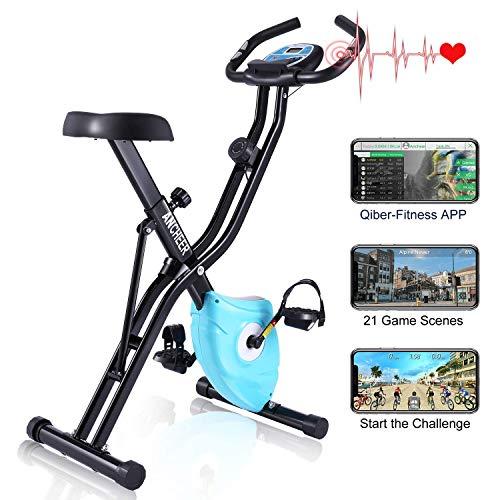 Profun Bicicleta Estática Plegable App 10 Niveles de Resistencia Magnética, Bicicleta de Ejercicios con Tableta/Soporte para Teléfono y Asiento Grande y Cómodo (Azul sin Respaldo)
