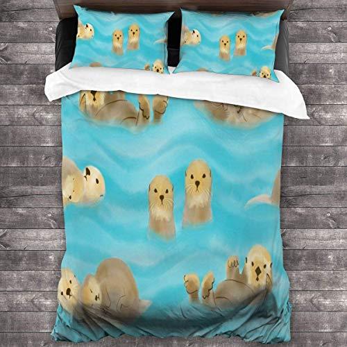 Otters Plying In Watter Bed Sheet Set Sheet Wrinkle Resist Modern Bed Decoration Cover Set 3 Pcs Bedroom Comforter Set