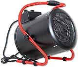 DeTec. DT-HL3-1 Heizlüfter 3 kW Elektro Heizer für Innenraum, Garage, Werkstatt 230V schwarz rot
