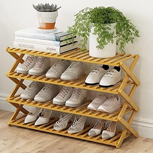 Madeinely Zapatero de almacenamiento de 4 niveles de bambú, organizador de almacenamiento de zapatos, estante para ahorrar espacio