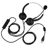 Yosoo Health Gear Auriculares USB con micrófono con cancelación de Ruido y Controles de Audio, Auriculares comerciales Ligeros con Cable para Skype, seminario Web, teléfono móvil, Centro de Llamadas