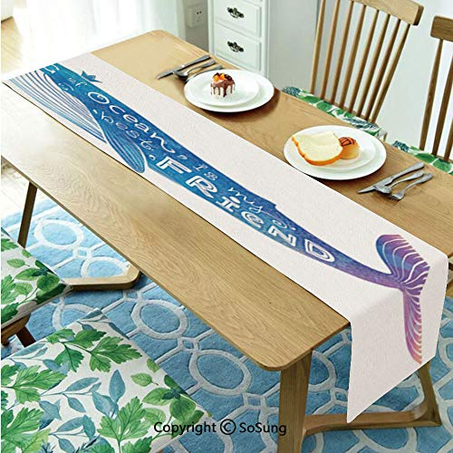 """King Table runner for Farmhouse Dining Coffee Table Decorative,King of Ocean is My Best Friend in Watercolor Abstract Style Quote on Whale Print 16""""x96"""" Polyester linen Tea Table Runner,Blue and Purpl"""