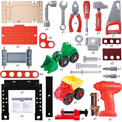 iBaseToy Kids Tool Bench, 91 Pieces Toy Workbench with Electric Drill, Construction Toy Vehicles, and Storage Space, Toddler Tool Bench Tool Toys Gift for Boys Girls