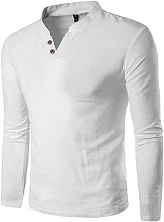Men's tops fashion men shirts long sleeve Casual Splicing Henry Button Long Sleeve Shirt Top Blouse