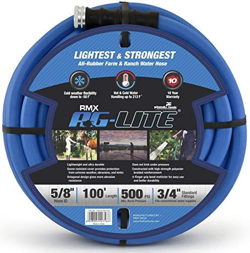 AG-Lite Rubber Hot & Cold Water Rubber Garden Hose: Ultra-Light & Super Strong (5/8' x 100') - BSAL58100
