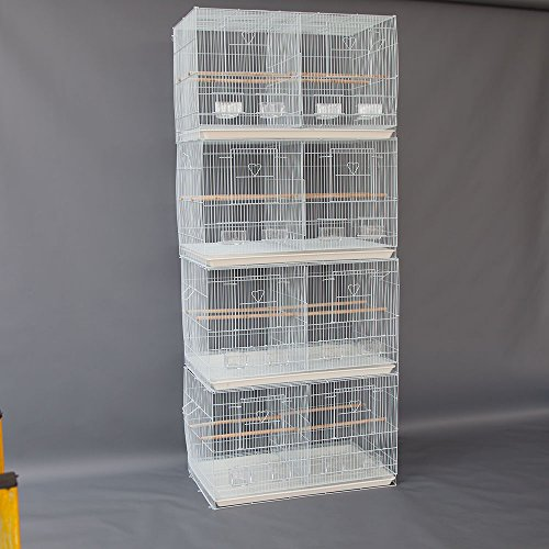 Flyline Lot of 4 Breeding Bird Carrier Cage with Dividor 30x18x18 for Parakeet Canary Finch Loverbird (White)