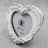 ZXT-parts 3x3 Picture Frame Heart White & Silver Edge Frame. Resin Handmade Photo Frame. Glass Panel. Black Suede Cover.European Style Suitable for Wall or Desktop.