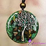 ORGONITE NECKLACE, Tree of Life, EMF-Protection energy generator - Contains quartz, crystals, malachite, tiger eye, resin, metals-daily use-yoga meditation, handmade