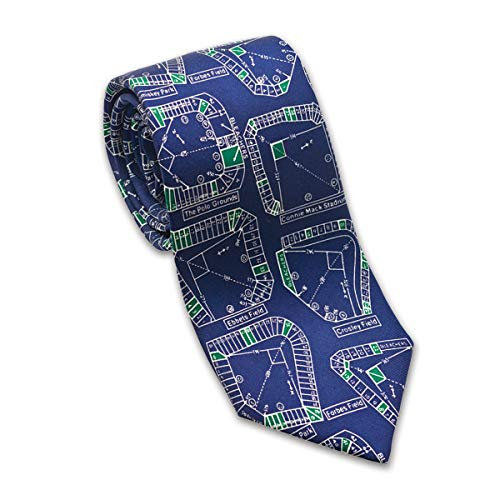 Josh Bach Men's Baseball Stadiums Silk Necktie Blue, Made in USA