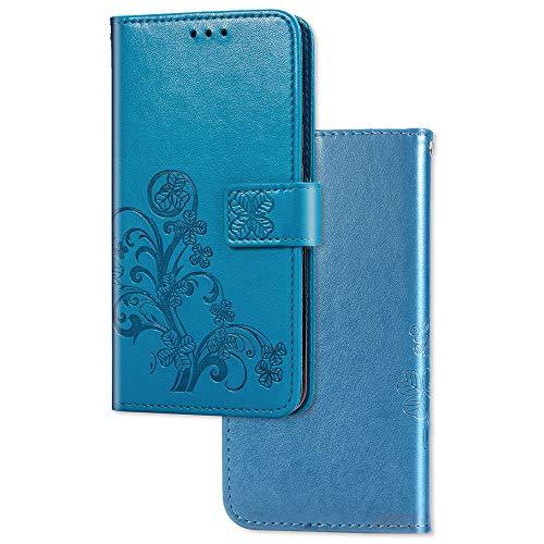COTDINFOR Etui für Xiaomi Mi 9 SE Hülle PU Leder Cover Schutzhülle Magnet Tasche Flip Handytasche im Bookstyle Kartenfächer Lederhülle für Xiaomi Mi 9 SE Clover Blue SD