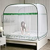Pop-Up Mosquito Net Tent Canopy for Full Beds, Crib Netting, Self-Standing Tent for Camping, Folding Portable for Baby Adults Trip (Green & Full)