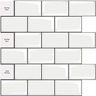 MORCART Peel and Stick Tile, Superior Stick on Wall Tiles for Kitchen Backsplash (12x12 Inches, 5 Tiles, Mono White with D...