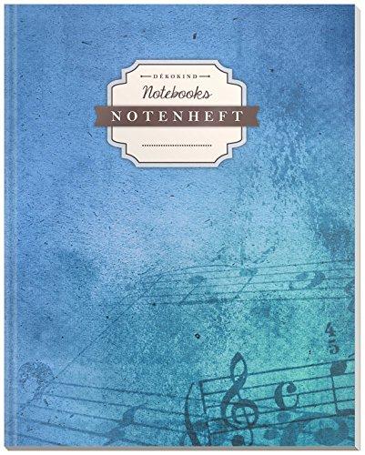 DÉKOKIND Notenheft | DIN A4, 64 Seiten, 12 Notensysteme pro Seite, Inhaltsverzeichnis, Vintage Softcover | Dickes Notenbuch | Motiv: Vintage Blue