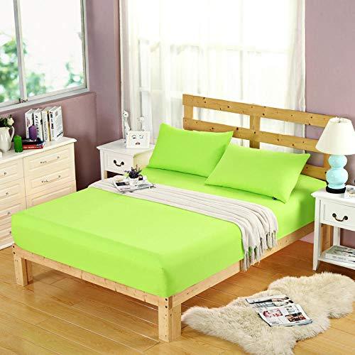 HPPSLT Protector de colchón, algodón, poliéster, Sábana cepillada Color sólido Antideslizante-Fruta Pura Green_180 * 200cm
