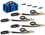 Mac's Tie-Downs 511618 Black Pro Pack with 8' x 2' Ratchet Straps, and 24' Axle Straps and Fleece Sleeves