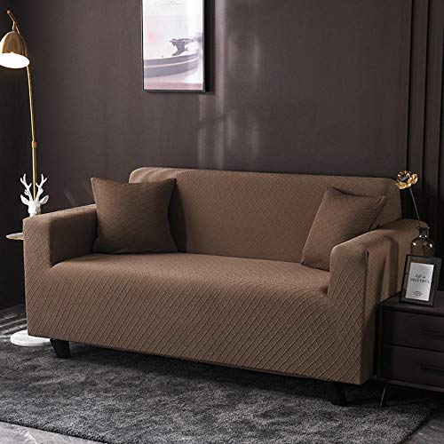 HXTSWGS Fundas de sofá,Asiento de Amor,Funda de sofá para Sala de Estar, Funda de sofá de Spandex elástica, Funda de sofá de Esquina elástica en Forma de L, café Ligero_190-230cm